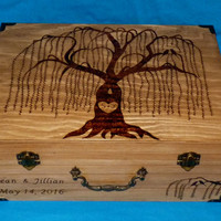 Decorative Rustic Wood Burned Wedding Box Suitcase Custom Wooden Wedding Tree Keepsake Card Trunk Personalized Willow Love Birds Gift Carved