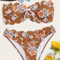 Random Floral Scalloped Trim Lace-up Bandeau Bikini