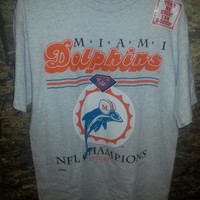 Vintage Retro 1994 Miami Dolphins Playoffs and Championship T-Shirt by Nutmeg Mills- Original Sticker - Size Large