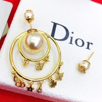 DIOR Hot Sale Women Elegant Pearl Bee Asymmetric Earrings Jewelry Accessories