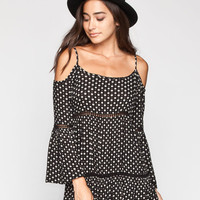 Patrons Of Peace Cold Shoulder Top Black  In Sizes