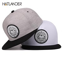 5 panels cotton snap back 3D god eyes plastic patch mens flat brim baseball cap hip hop hat and cap for men and women
