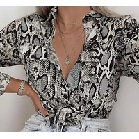 Autumn and winter women's personality fashion new snake print