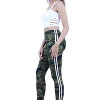 Comfort Camo Side Stripe Trim Elastic Waistband Skinny Leggings