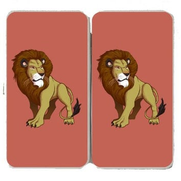 'Lion' Big Cat Standing On Light Background - Taiga Hinge Wallet Clutch