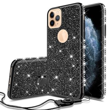 Apple iPhone 11 Pro Case, Glitter Cute Phone Case Girls with Kickstand,Bling Diamond Rhinestone Bumper Ring Stand Sparkly Luxury Clear Thin Soft Protective Apple iPhone 11 Pro Case for Girl Women - Black