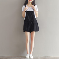 Women Short Pants Black Wine Red Cotton Shorts Casual Loose Overalls Shorts Plus Size Summer Beach Hot Pants