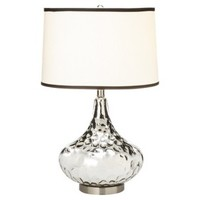 Polished Glass Table Lamp - Silver