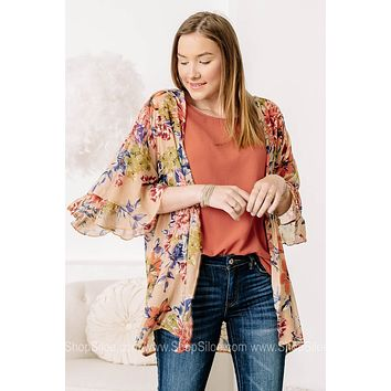 Where We Are Going Floral Print Kimono