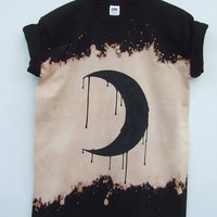 Black Crescent Moon Bleached Acid Wash Shirt, Dark Grunge Tumblr Aesthetic, Emo Style, Goth Clothing, Blogger Fashion - 2 weeks pre-order