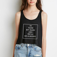 """Shawn Mendes """"A Little Too Much - So take my hand and we'll be alright"""" Boxy, Cropped Tank Top"""
