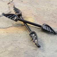 Black Angel Wing Nipple Bar Jewelry Barbell