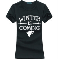 Hot Game of Thrones Women T-Shirt Winter Is Coming letter Print Tops for lady fashion brand harajuku tee shirt femme punk 2017