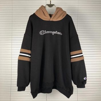 """Champion"" Unisex Thickened Embroidery Letter Stitching Multicolor Stripe Long Sleeve Hooded Sweater Couple Sweatshirt Tops"