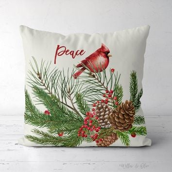 Decorative Square Throw Pillow - Peace Cardinal