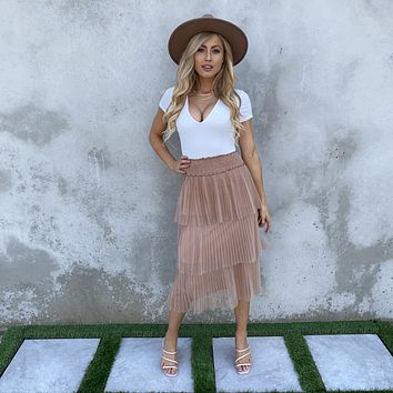 Lost in A Dream Pleated Midi Skirt
