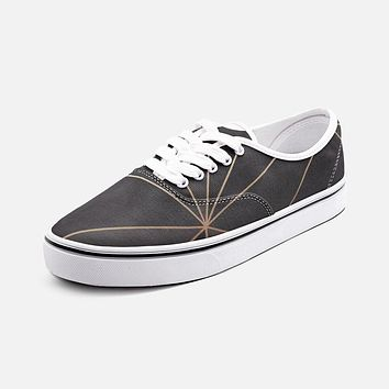 ABSTRACT BLACK POLYGON WITH GOLD LINE UNISEX CANVAS SHOES FASHION LOW CUT LOAFER SNEAKERS BY THE PHOTO ACCESS