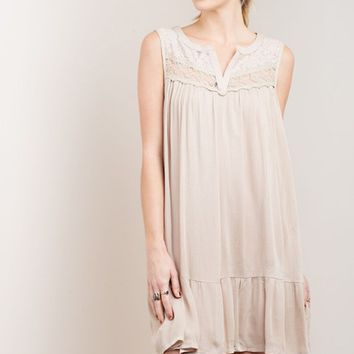 Sleeveless Mocha Lace Shift Dress