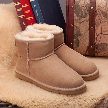 Ugg 5854 Sand Classic Mini Sheepskin Boot Snow Boots #100