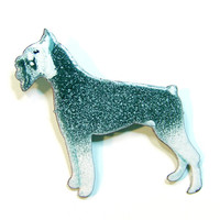 Enameled Schnauzer Dog Brooch Vintage Hand Crafted