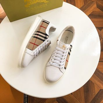 BURBERRY*  Men Fashion Boots fashionable Casual leather Breathable Sneakers Running Shoes06070qh