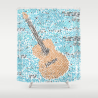 individually pasted hexagons by hand in a guitar shape.. my hand hurts now...   Shower Curtain by Studiomarshallarts