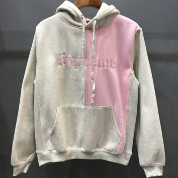 Champion Trending Casual Embroider Long Sleeve Round Neck Pullover Sweater Grey+Pink G