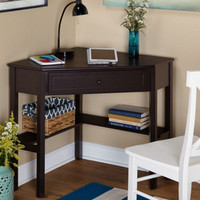Corner Writing Desk with Center Drawer Home Office Furniture Espresso Finish New