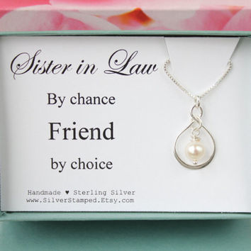 Gift for Sister in Law by chance Friend by choice sterling silver necklace, bridal party gift, wedding party gift box, birthday gift