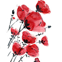 Poppies field on a windy day  print of  original watercolor painting , Love ,  anniversary, mothers day , Red Black