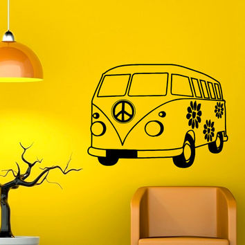 Vinyl Wall Decals Hippie Bus Adventure Car Decal Stickers Peace Sign Home Decor Living Room Wall Art Hippie Bedroom Dorm For Teens C075