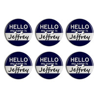 Jeffrey Hello My Name Is Plastic Resin Button Set of 6