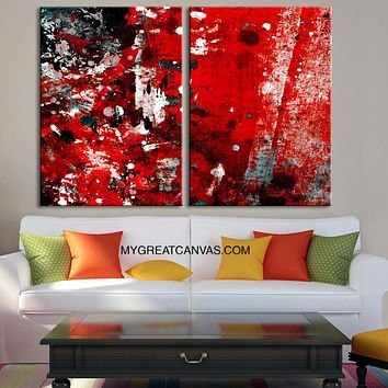 Abstract Colorful Wall Art Canvas Print Diptych Red Black MixColor Canvas Art Print Large