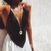 Sexy chain sequin camisole tank top women shirts Halter deep v neck summer top cami Backless night club party crop top 2018