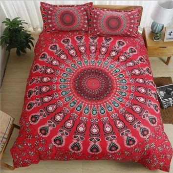 Red purple blue twin Full Queen/King Size 3pcs Bedding set Duvet Cover Set With Pillowcase Bohemia Quilt Cover Set Home Textiles