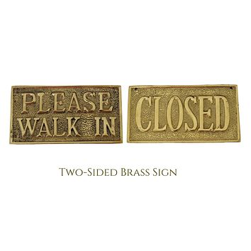 """1960s Brass Cast Office Sign Reversible """"Please Walk In"""" """"Closed"""" New Old Stock"""