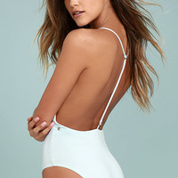 Dolce Vita Solid Light Blue T-Strap One Piece Swimsuit