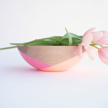 "Mother's Day Collection: 10"" Wooden Beech Bowl , Pink and Peach half crossed by Willful, house warming gift, hostess gift"