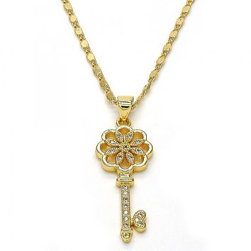 Gold Layered 04.156.0066.20 Pendant Necklace, key and Flower Design, with White Micro Pave, Polished Finish, Golden Tone