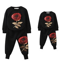 Spring Family Matching Outfits Mother And Daughter Long Sleeve Rose Floral Sweatshirt+Pants Suit