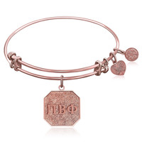 Expandable Bangle in Pink Tone Brass with Pi Beta Phi Symbol