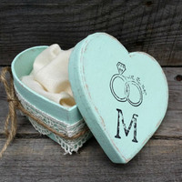 Personalized Rustic Ring Bearer Heart Shaped Box, Rustic Ring Bearer Pillow Alternative, Rustic Wedding Ring Holder, Rustic Wedding Decor