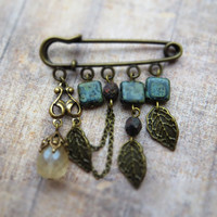 Boho brooch / bronze color metal pewter leaves, Czech glass champagne teardrop, glass patina beads, antiqued brass