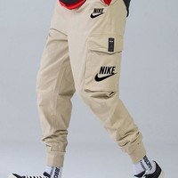 Nike 2019 new men's three-dimensional large pocket ribbed beamed overalls Khaki
