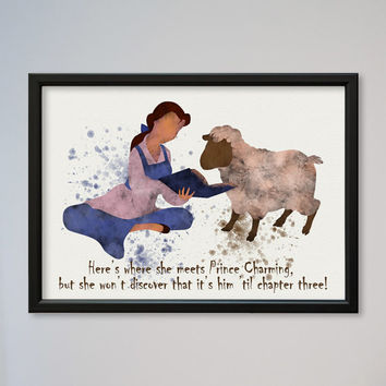 Beauty and the Beast Belle Quote Poster Watercolor print Disney Kids art Wall Hanging little girl Nursery gift Belle reading book to sheep