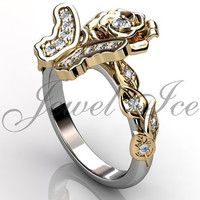 Butterfly Engagement Ring - 14k white and yellow gold diamond butterfly flower engagement ring, wedding ring, anniversary ring ER-1117-4