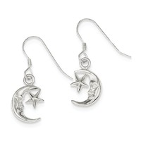 Sterling Silver Moon & Star Earrings QE32