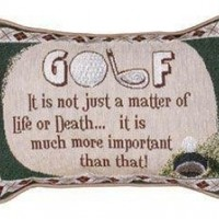 """Set of 2 Golf Themed """"Life or Death"""" Decorative Tapestry Throw Pillows 12"""""""