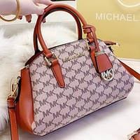 Hipgirls MK Michael Kors New fashion more letter leather shopping leisure shoulder bag crossbody bag handbag Brown