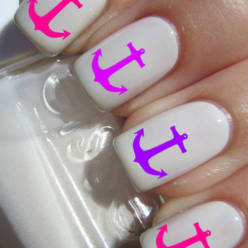 Pink and Purple Anchor Nail Decals
